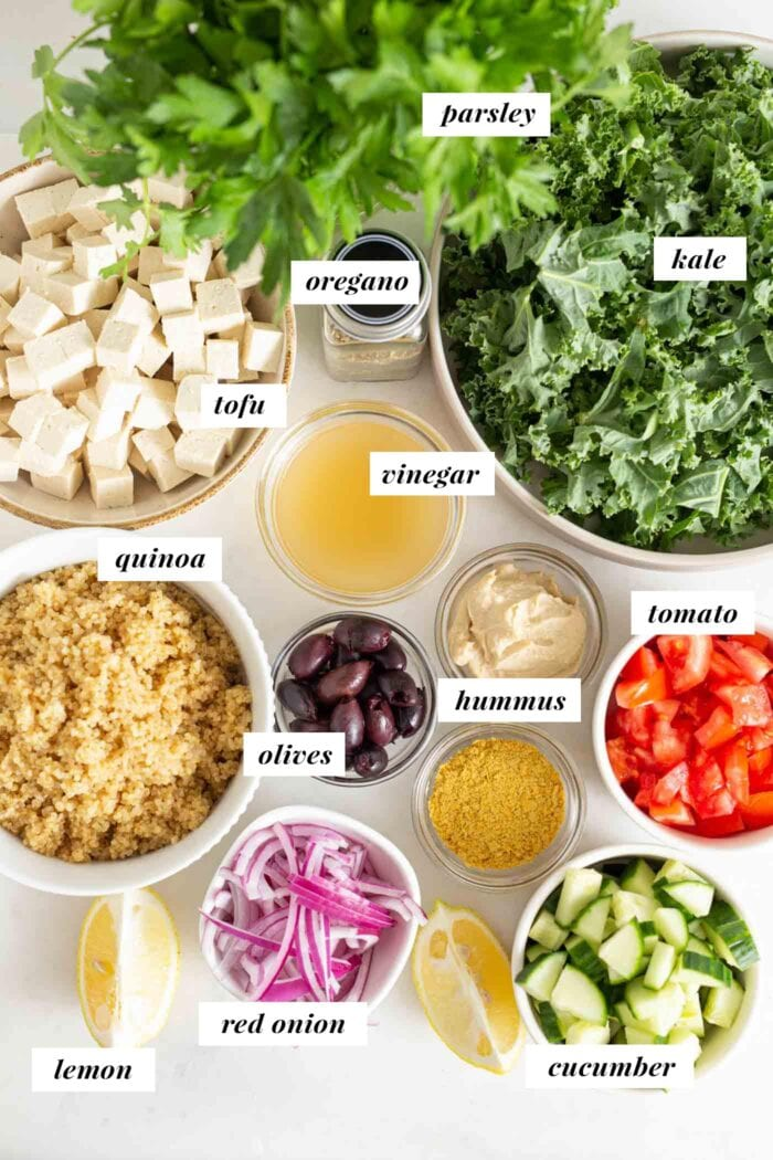 Labelled list of ingredients for a Mediterranean quinoa salad bowl with olives and hummus.