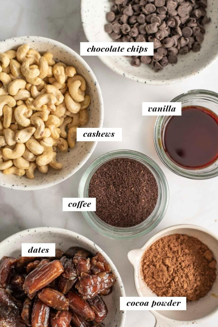 Labelled ingredients for making salted mocha no-bake energy bites.