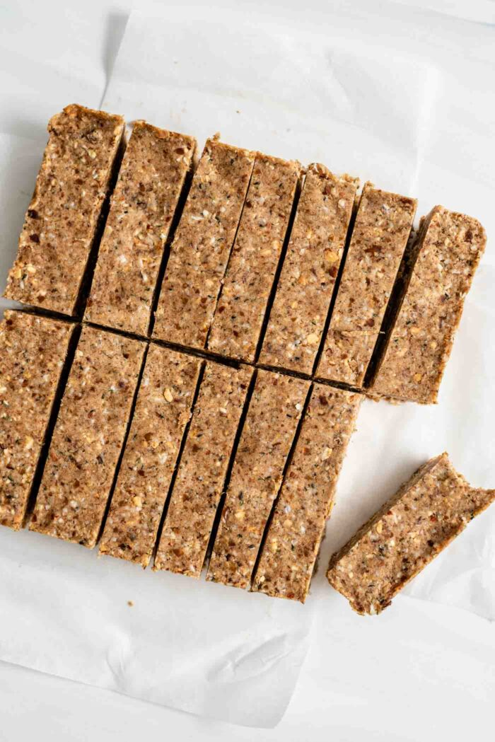 Sliced energy bars sitting on parchment paper.