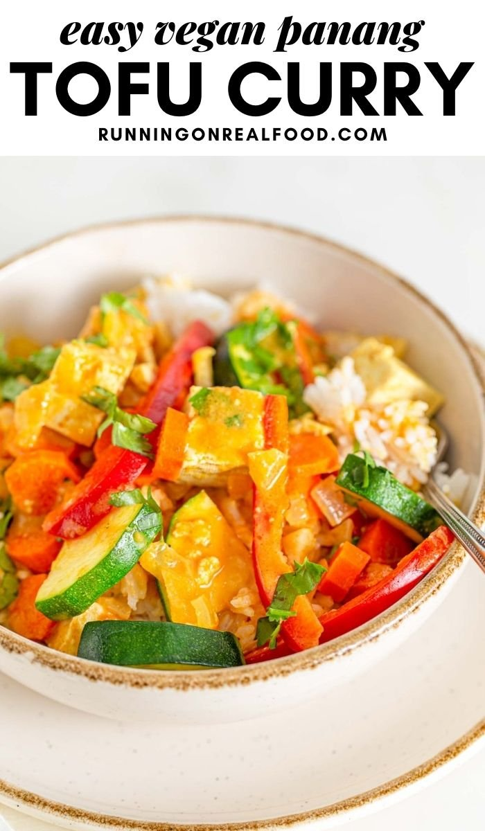 Pinterest graphic with an image and text for vegan panang curry.