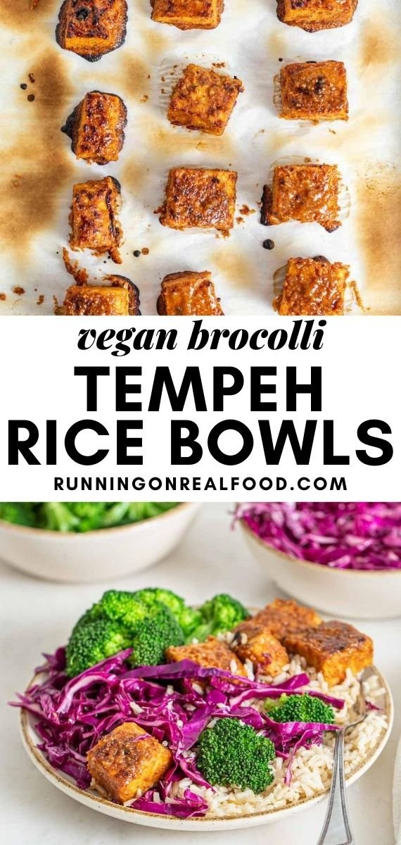 Pinterest graphic with an image and text for broccoli brown rice bowls with tempeh..