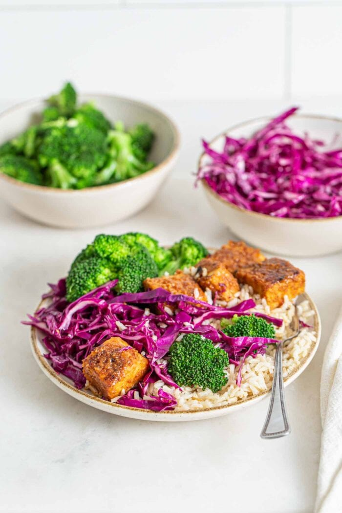 Colourful bowl of brown rice, baked tempeh cubes, broccoli and sliced cabbage.