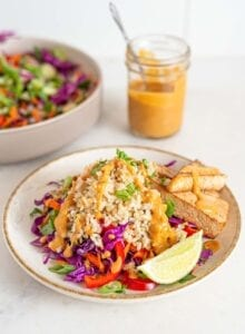 Bowl of colorful salad with brown rice, peanut sauce, tofu and veggies. Jar of sauce in background.