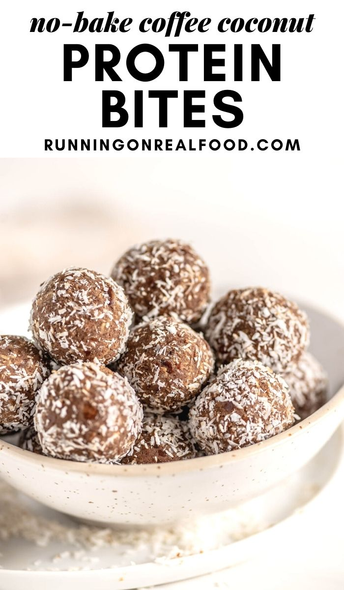 Pinterest graphic with an image and text for no-bake coffee coconut balls.