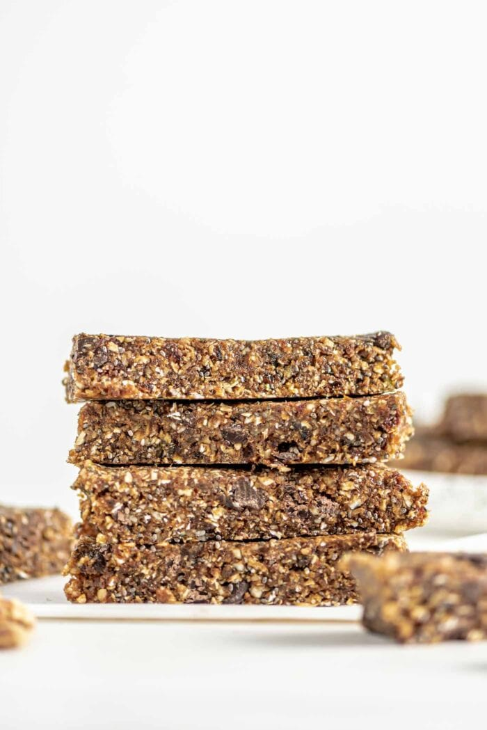 Stack of 4 energy bars with chocolate chips.
