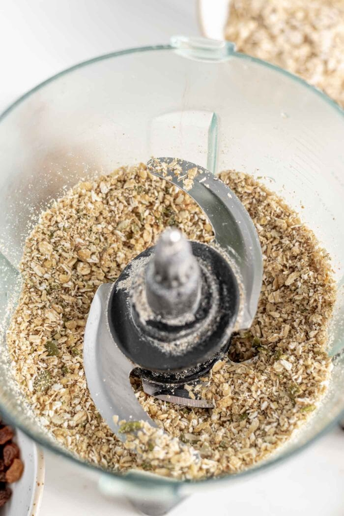 Blended up oats, walnuts and pumpkin seeds in a food processor.