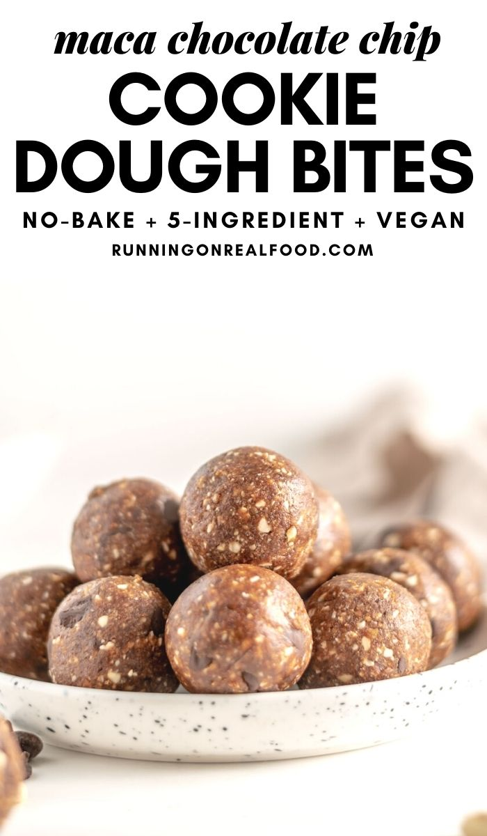 Pinterest graphic with an image and text for maca energy bites.
