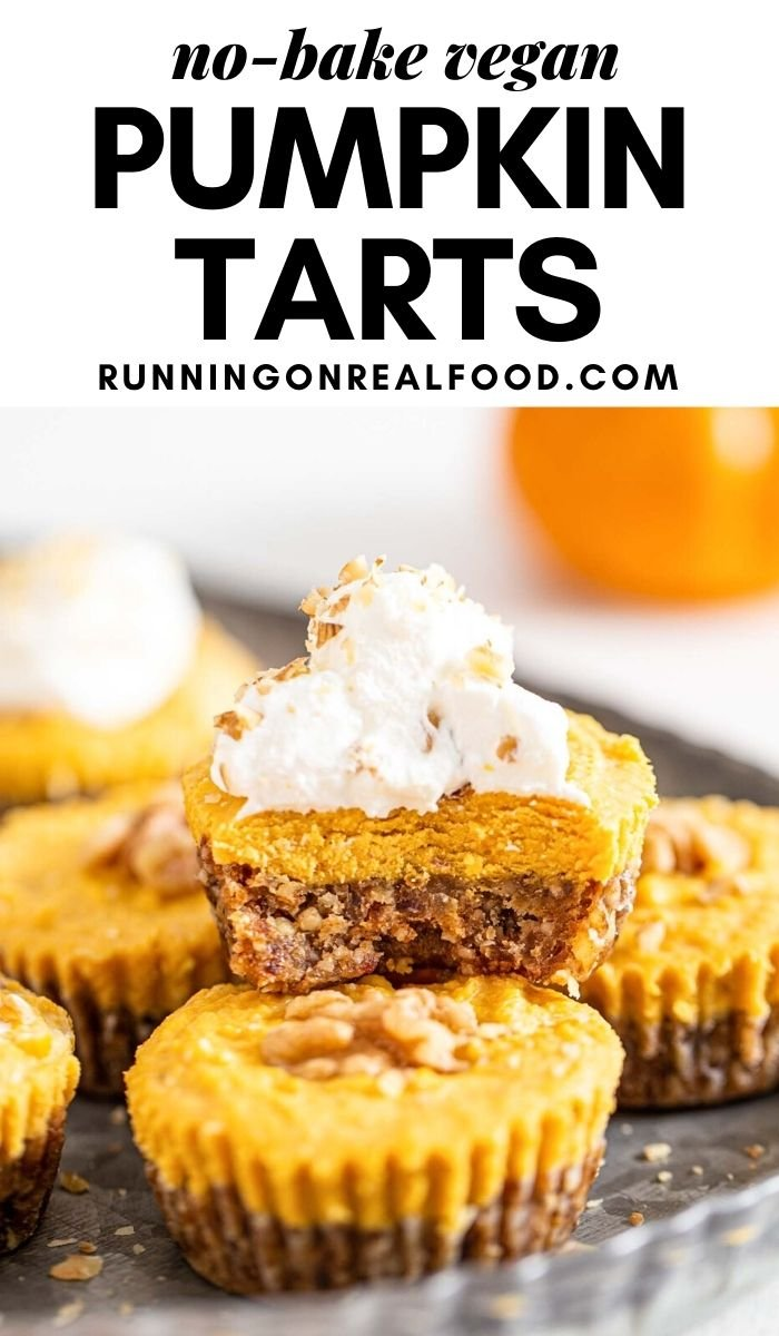 Pinterest graphic with an image and text for pumpkin pie tarts.