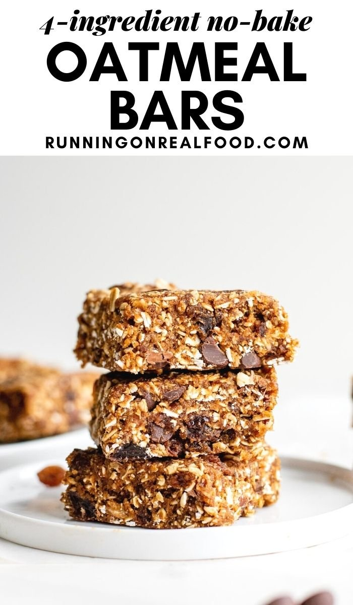 Pinterest graphic with an image and text for no-bake oatmeal raisin chocolate chip bars.