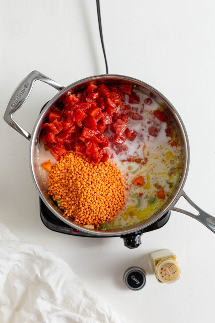 Lentils, diced tomatoes, coconut milk, onion and garlic cooking in a stock pot.