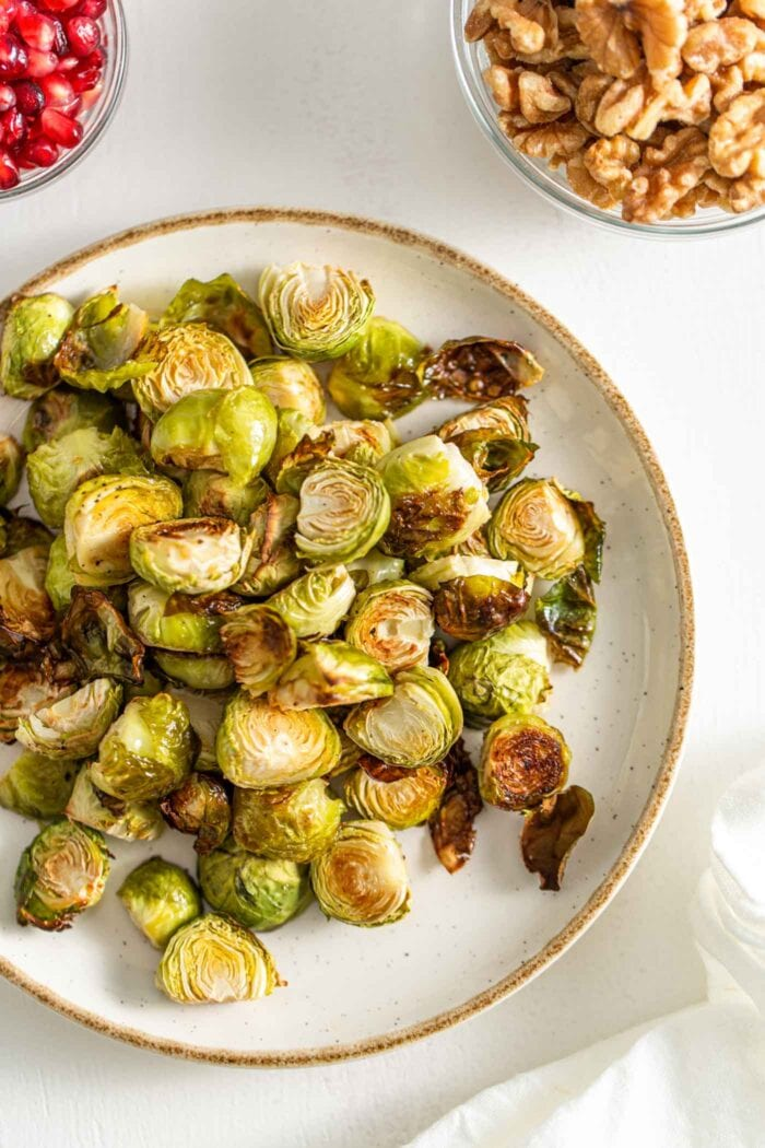Plate of roasted brussels sprouts.