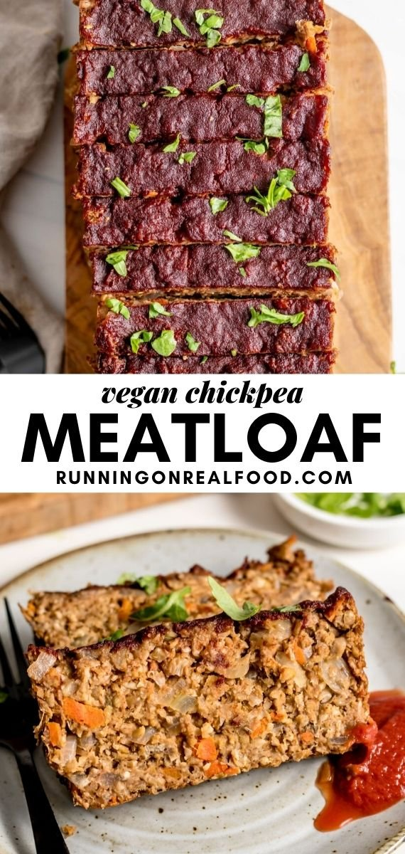 Pinterest graphic with an image and text for vegan chickpea meatloaf.