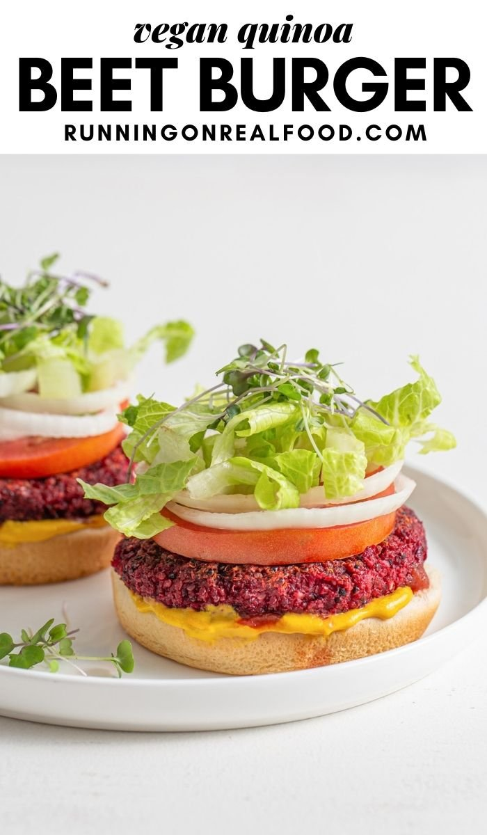 Pinterest graphic with an image and text for quinoa beet burgers.