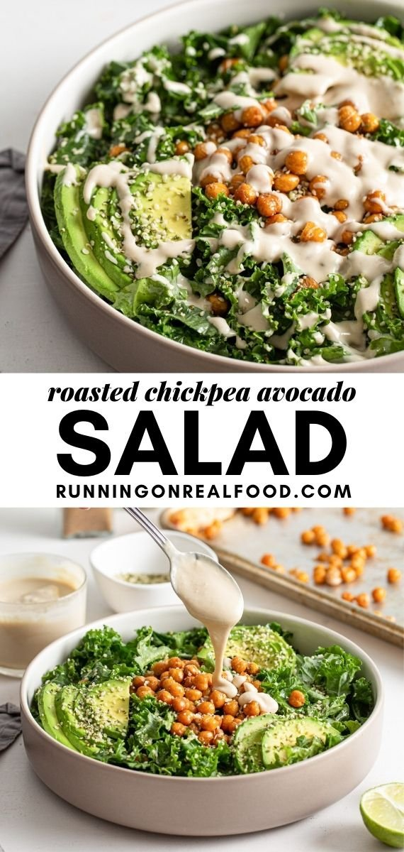 Pinterest graphic with an image and text for roasted chickpea avocado salad.