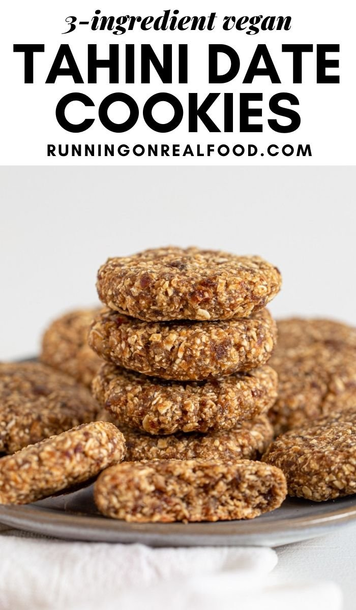 Pinterest graphic with an image and text for tahini date cookies.