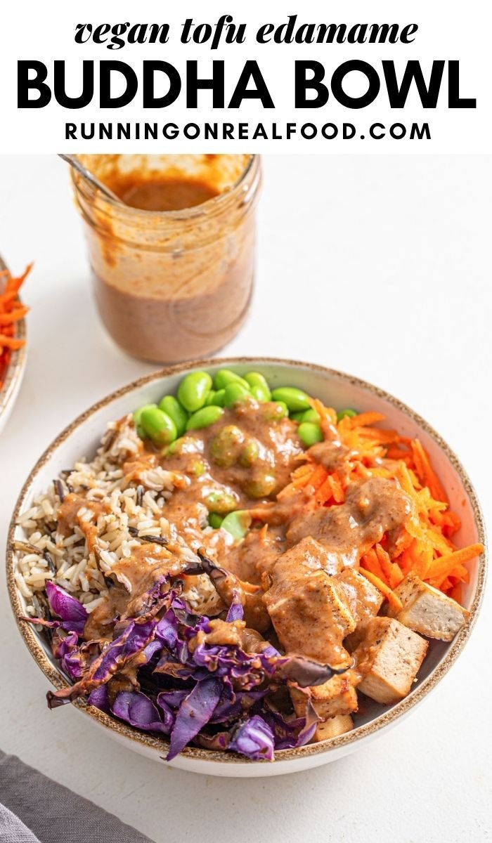 Pinterest graphic with an image and text for tofu edamame buddha bowls.
