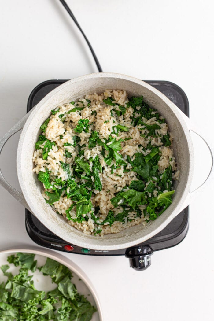 Pot of rice and kale cooking on a hot plate.