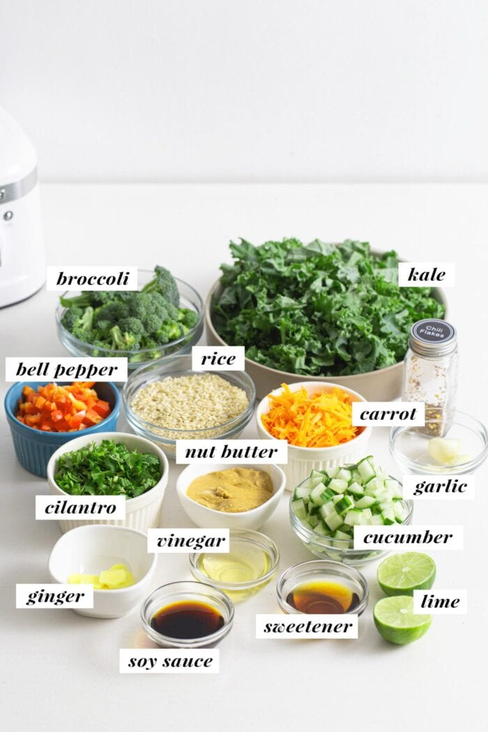 Visual of all ingredients for a broccoli, brown rice, and kale salad with peanut sauce. Ingredients are labelled with text overlay.