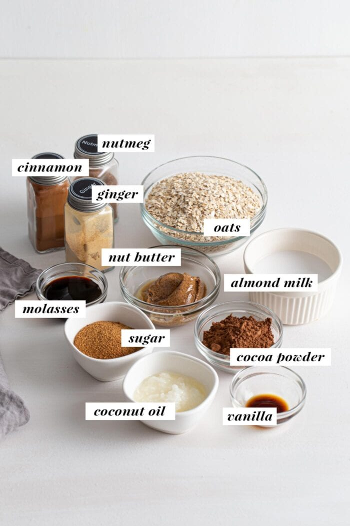 Visual of ingredient list for making no-bake chocolate gingerbread cookies.