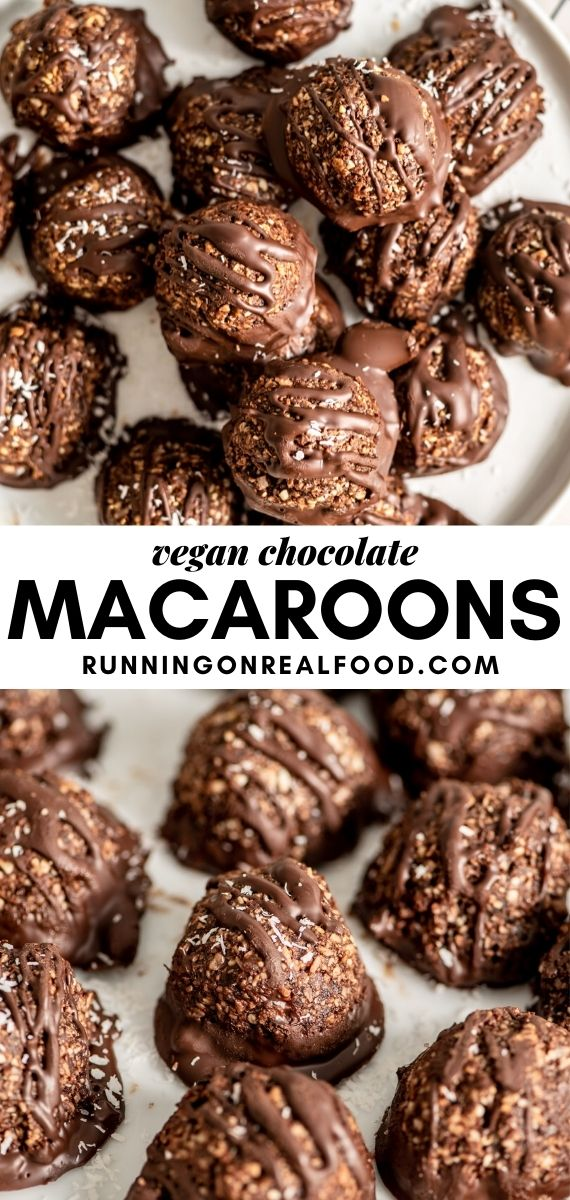Pinterest graphic with an image and text for chocolate coconut macaroons.