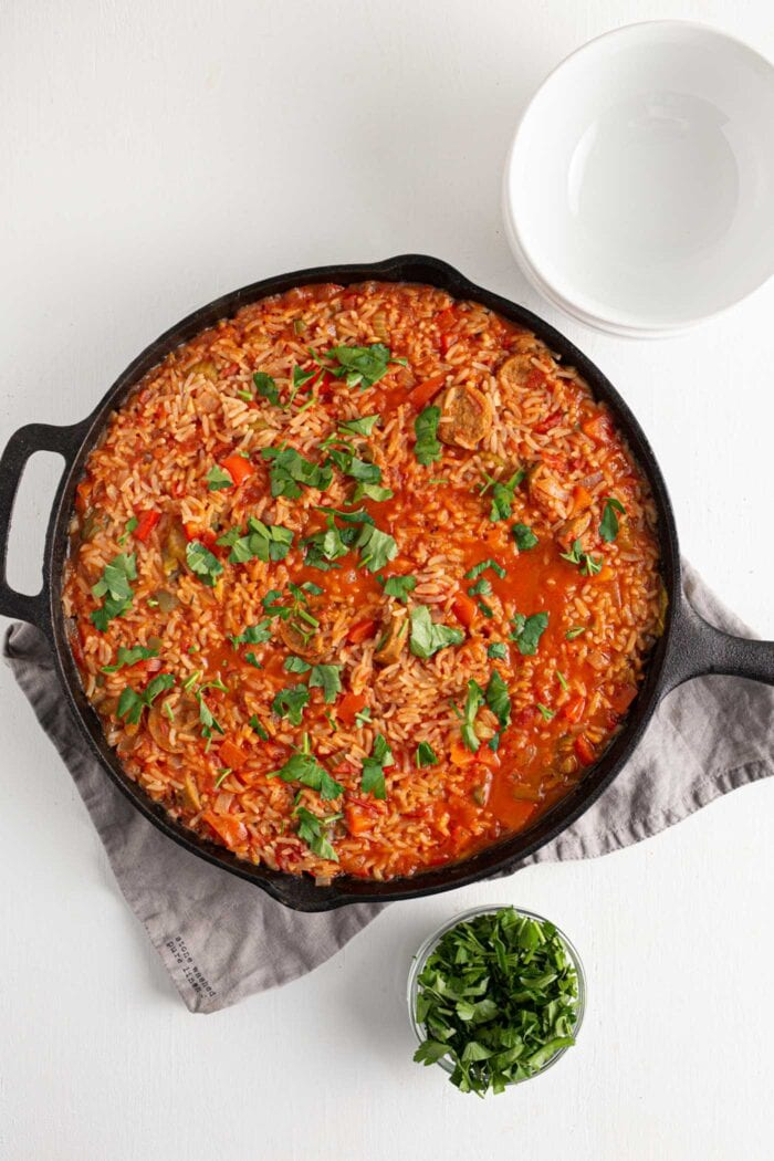 Overhead view of jambalaya in a skillet.