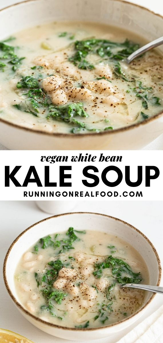 Pinterest graphic with an image and text for white bean and kale soup.