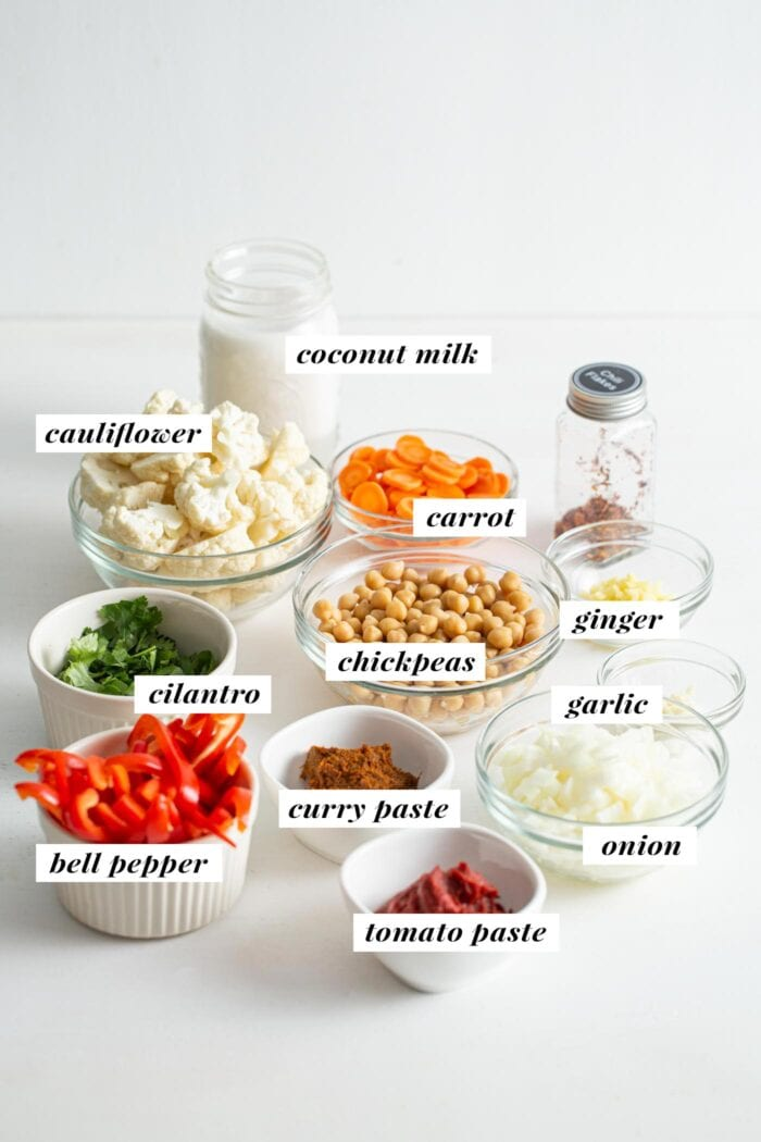 Visual list of ingredients for a cauliflower chickpea curry. Each ingredient is labelled with text overlay.