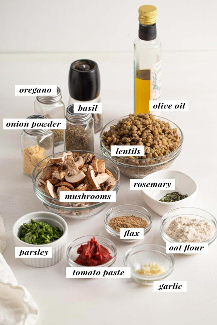 Visual of all ingredients needed for making vegan lentil meatballs. Ingredients labelled with text overlay.