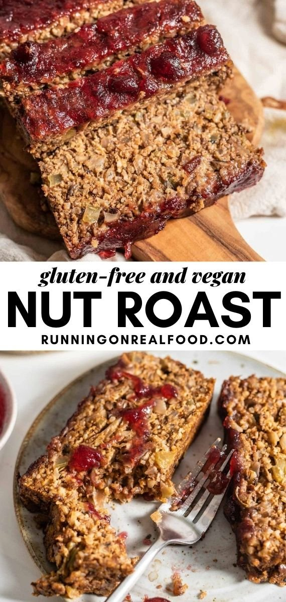 Pinterest graphic with an image and text for vegan nut roast.