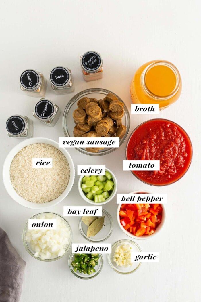 Visual of all ingredients needed to make a vegan jambalaya recipe.