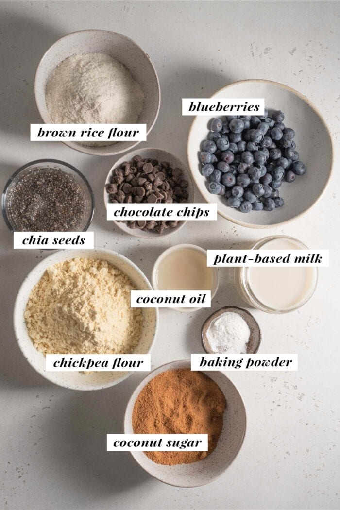 Visual of all ingredients needed for making vegan chickpea flour muffins.