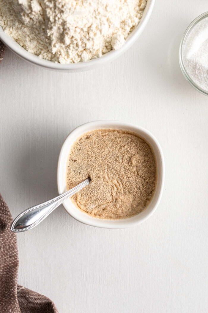 Yeast and water mixed together in a small bowl.