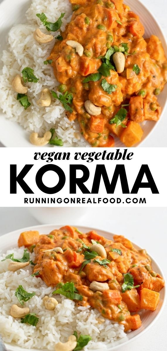 Pinterest graphic with an image and text for a vegan korma recipe.