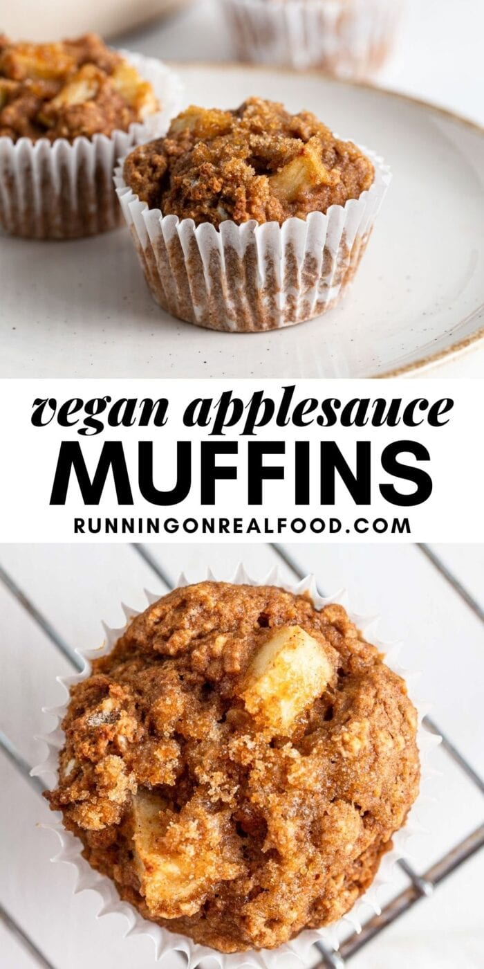 Pinterest graphic with an image and text for cinnamon applesauce muffins.