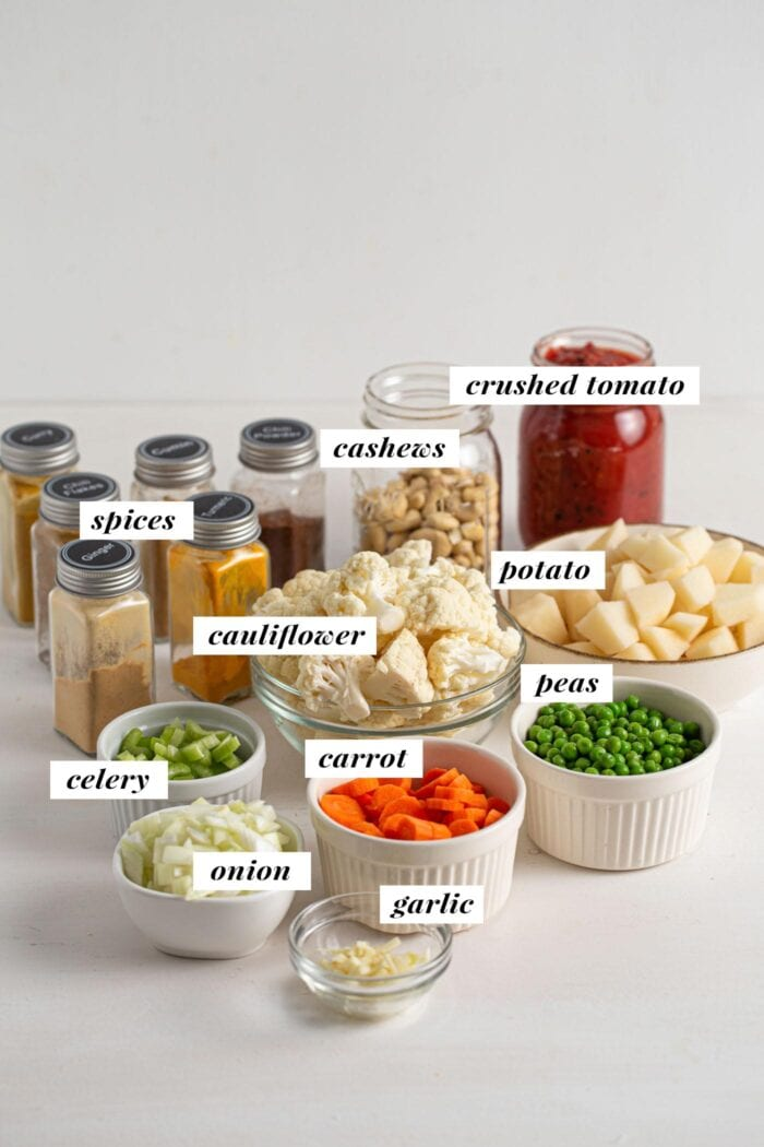 Visual of all ingredients needed for making a vegan vegetable korma recipe. Each ingredient is labelled with text overlay.