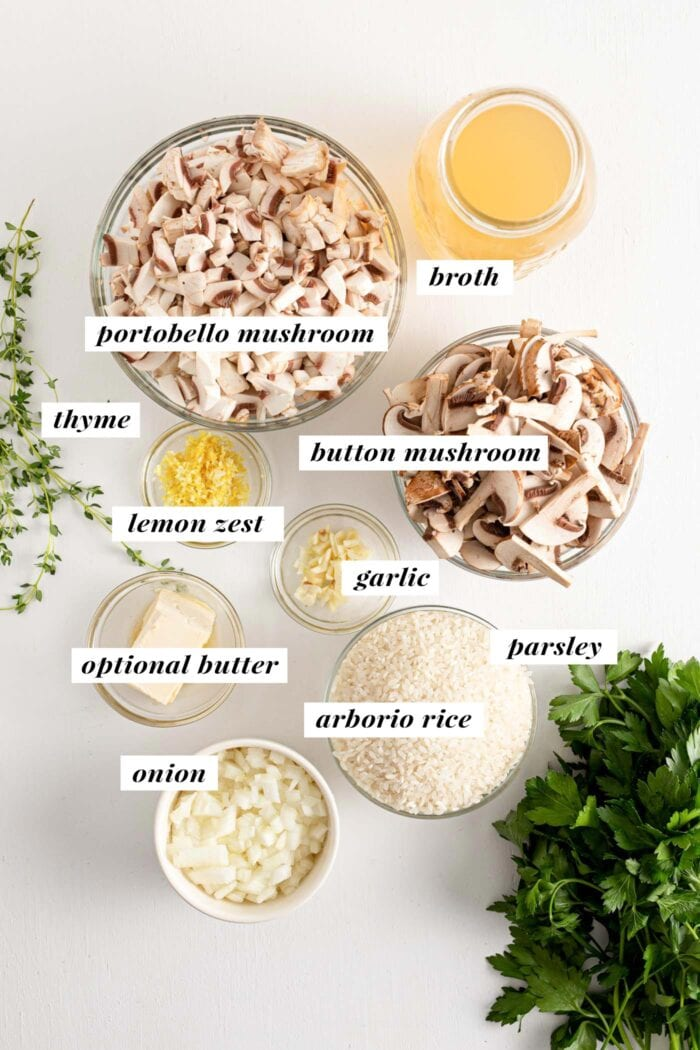Visual of all ingredients needed for making a vegan mushroom risotto recipe.