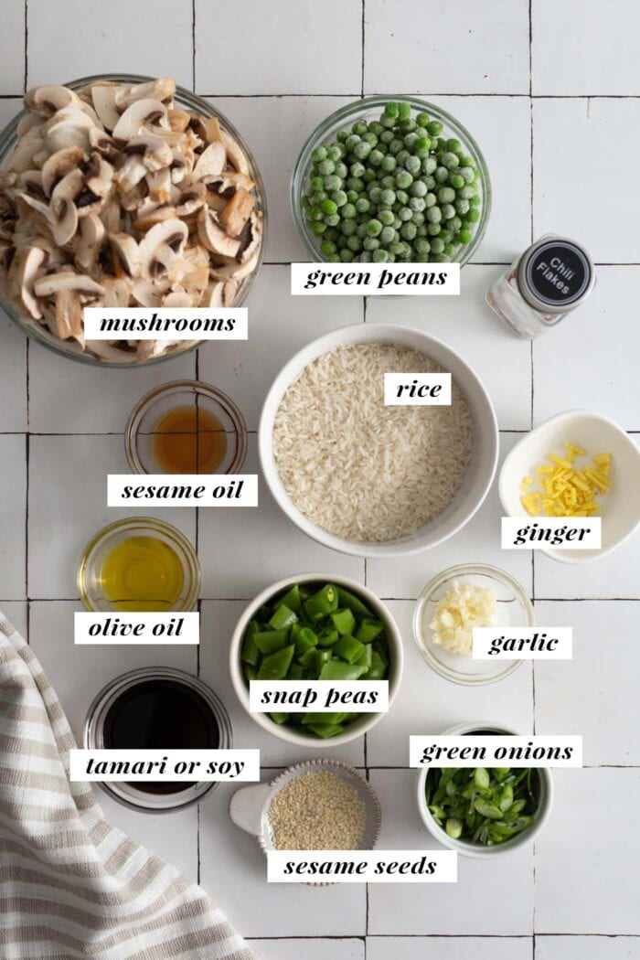 Visual of all ingredients needed for making mushroom fried rice recipe labelled with text overlay.