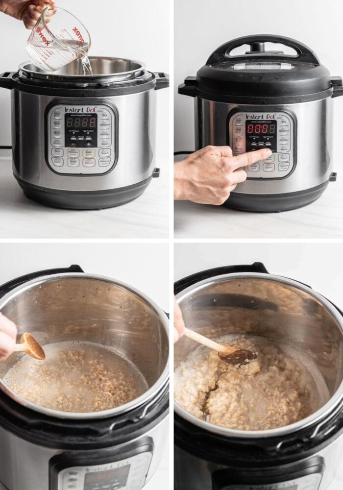 Visual step by step instructions for making rolled oats in an Instant Pot.