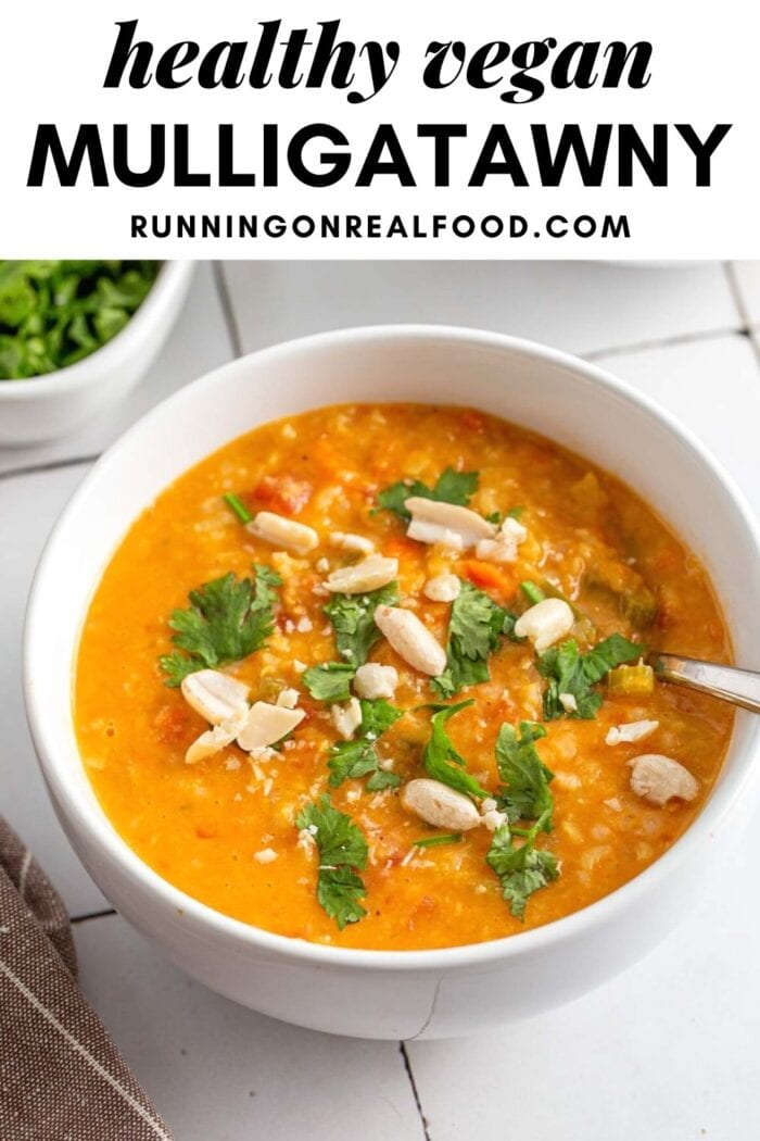 Pinterest graphic with an image and text for mulligatawny soup.