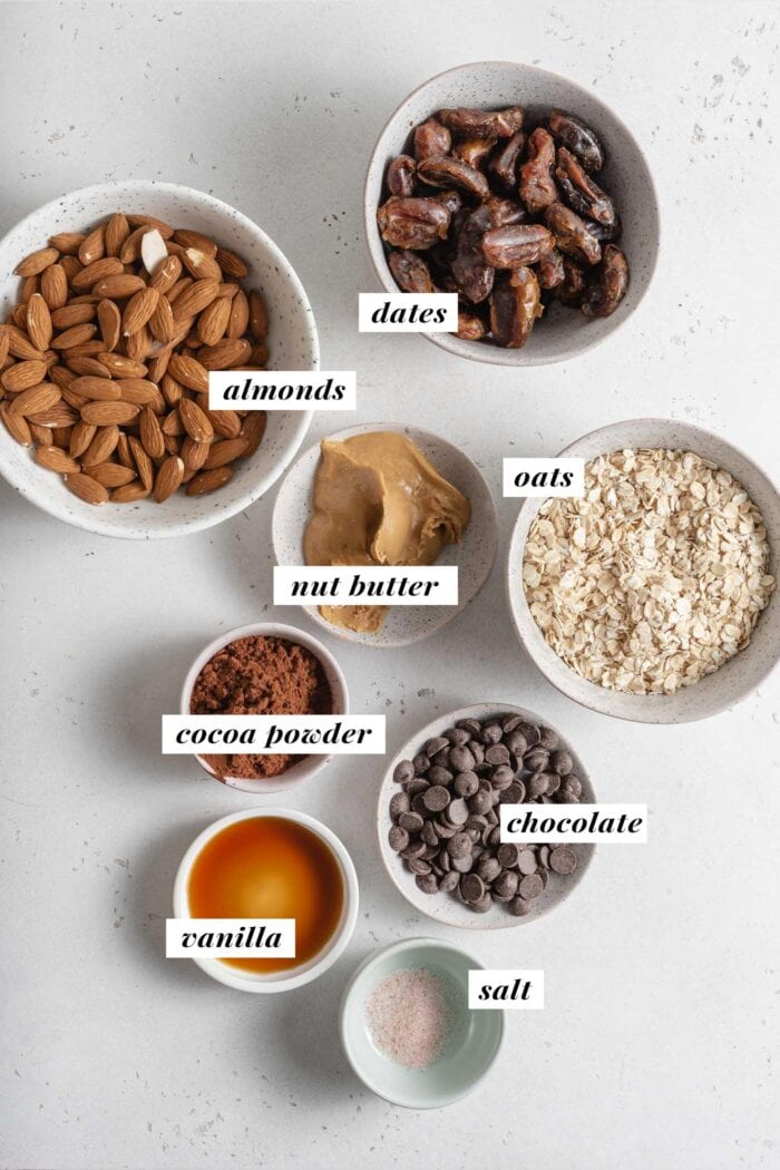 Visual of ingredients needed for making no-bake chocolate almond squares. Each ingredient is labelled with text overlay.
