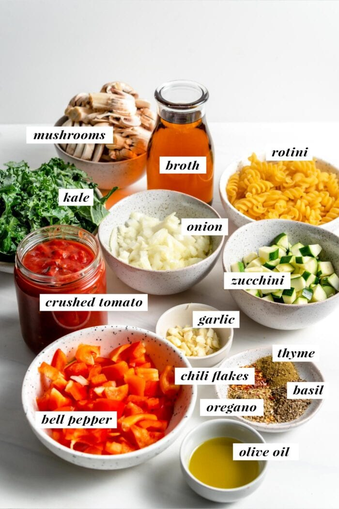 Visual of ingredients needed for making one pot pasta labelled with text overlay.