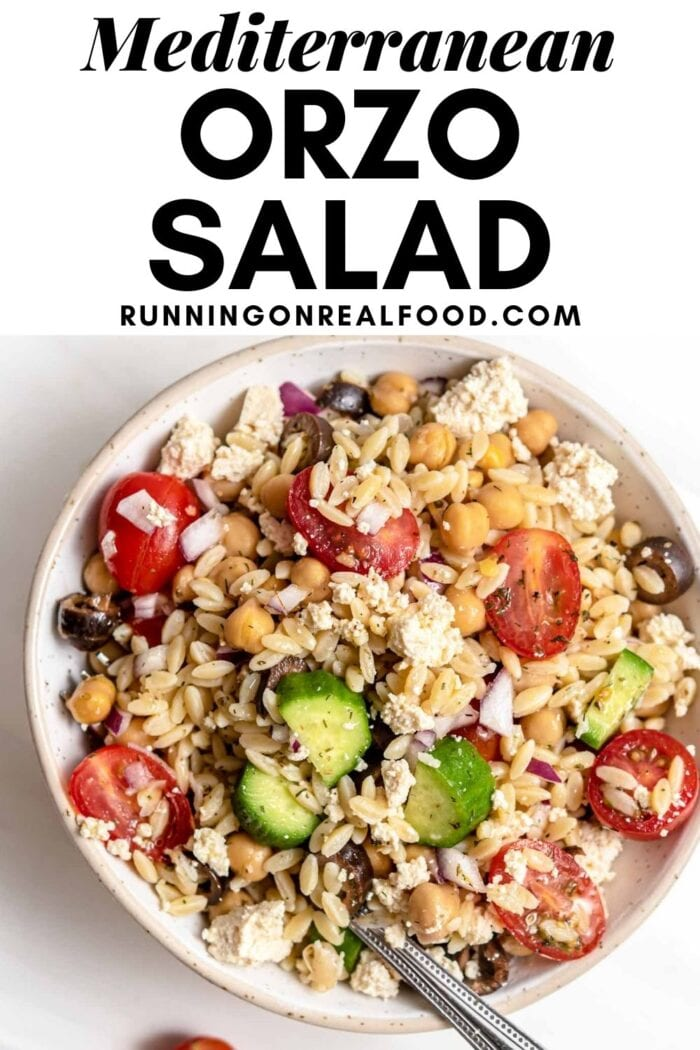 Pinterest graphic with an image and text for a orzo salad recipe.
