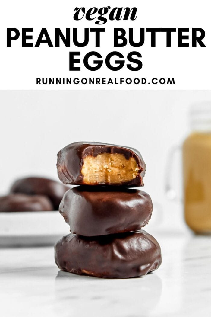 Pinterest graphic with an image and text for a vegan peanut butter egg recipe.