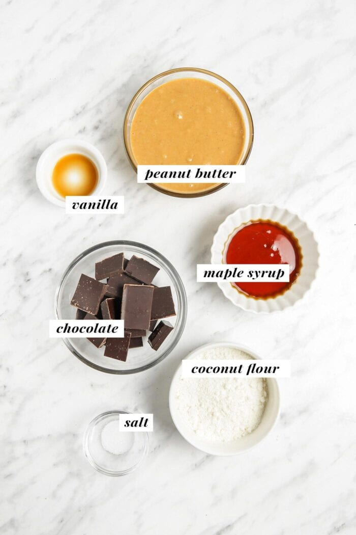 Overhead visual of all ingredients needed for making vegan peanut butter eggs labelled with text overlay.