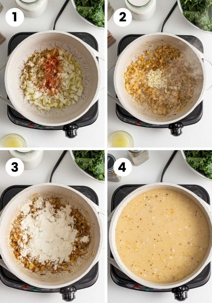Step by step visual instructions for making vegan zuppa toscana soup.