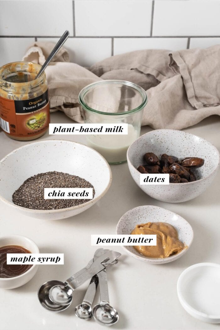 Visual of ingredients needed for making a peanut butter chia pudding. Ingredients are labelled with text.