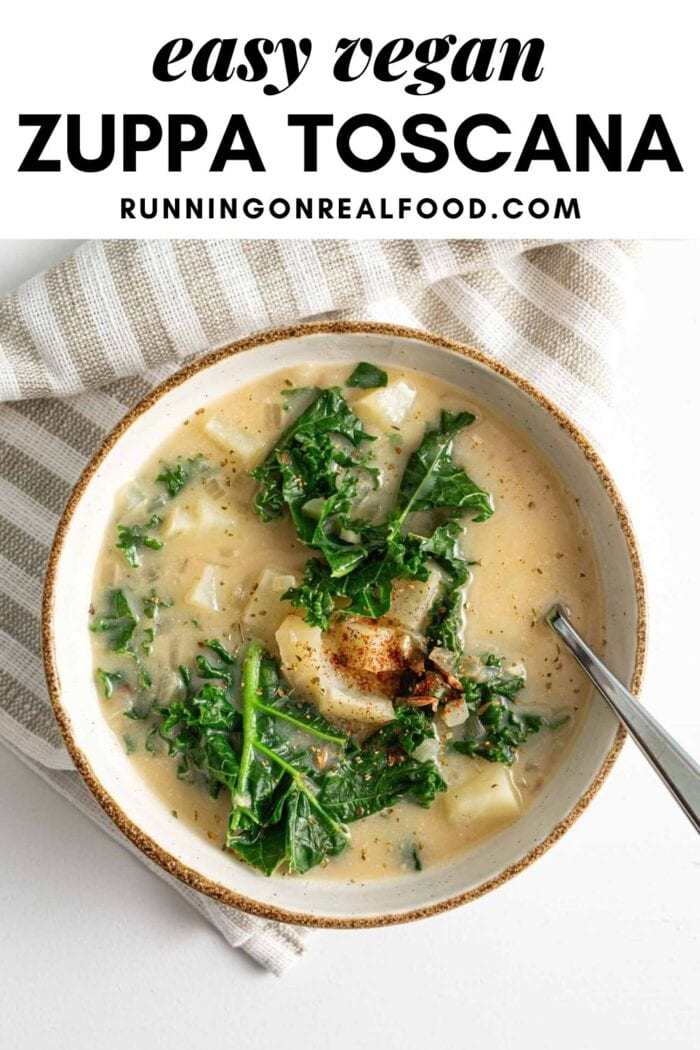Pinterest graphic with an image and text for vegan zuppa toscana recipe.