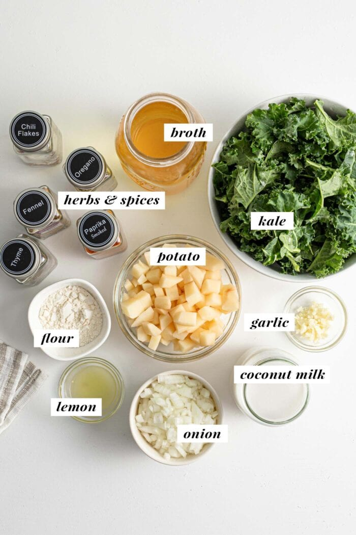 Visual of ingredients for making vegan zuppa toscana soup recipe.