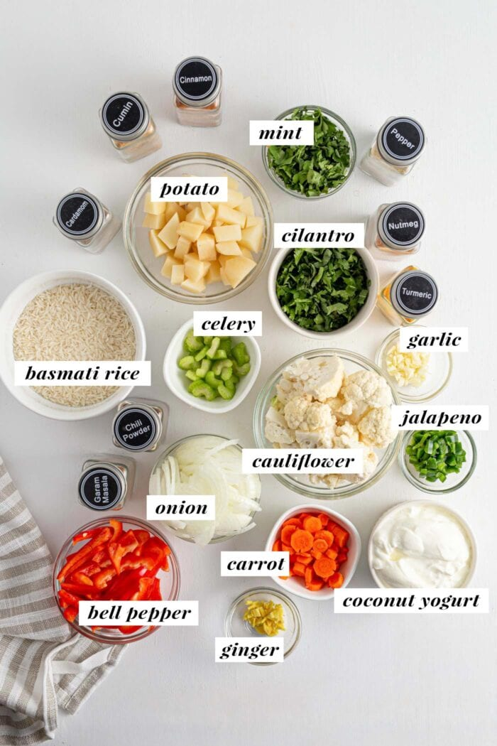 Visual of ingredients needed for vegetable biryani labelled with text.