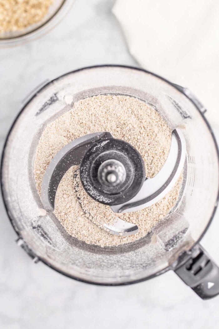 Oat flour in a food processor.